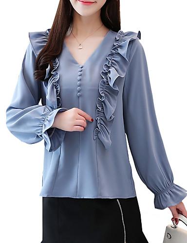 Camicia Per donna Tinta unita A V - Cotone Blu L