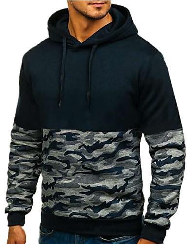 Χαμηλού Κόστους Αντρικές Μπλούζες με Κουκούλα & Φούτερ-Ανδρικά Καθημερινό Φούτερ με Κουκούλα - Μονόχρωμο / Ριγέ