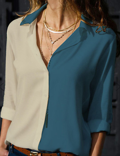 abordables Hauts pour Femmes-Chemise Grandes Tailles Femme, Bloc de Couleur Col de Chemise Jaune
