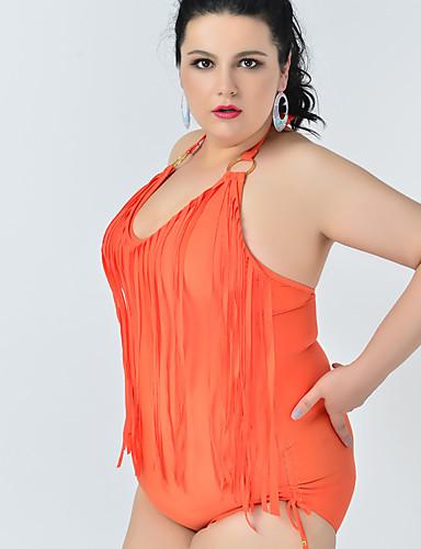 d249d59fc93d5 Women's Boho Black Orange Light Green Halter Cheeky One-piece Swimwear -  Solid Colored Backless Tassel XXL XXXL XXXXL Black