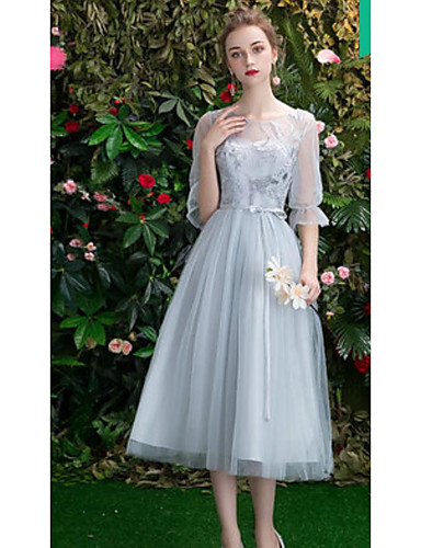 026709675351 cheap Bridesmaid Dresses-A-Line Off Shoulder Long Length Tulle Bridesmaid  Dress with Embroidery