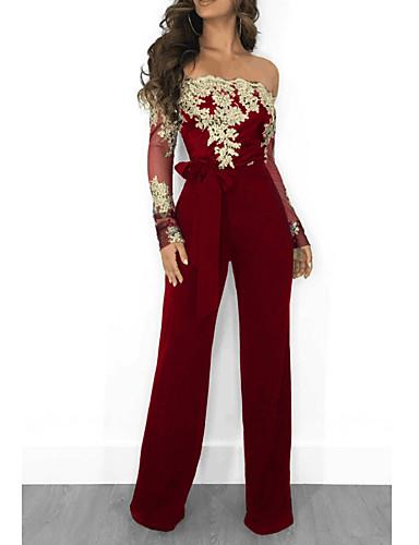 povoljno Ženske majice-Žene Kentucky Derby Crn Lila-roza Navy Plava Wide Leg Jumpsuits, Cvjetni print Čipka / Til / Chiffon M L XL Proljeće Ljeto Jesen / Zima