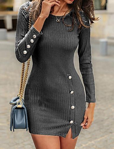 abordables Robes Femme-Femme Mini Moulante Robe - Bouton Printemps Eté Automne Noir Gris Foncé Vin XL XXL XXXL Manches Longues