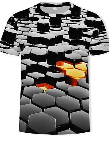 cheap Men's Tees & Tank Tops-Men's Daily Basic / Street chic T-shirt - Color Block / 3D Print Round Neck Black XXXXL / Short Sleeve