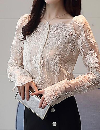 billige Dametopper-Firkantet hals Skjorte Dame - Ensfarget, Blonde Hvit