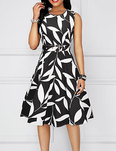 2019 New Arrival Dresses Women's Basic A Line Sheath Dress Elbise Vestidos Robe Femme - Geometric Black Red Yellow L XL XXL