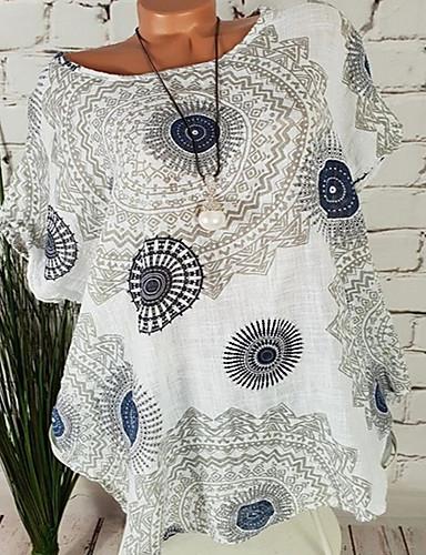 abordables Hauts pour Femmes-Tee-shirt Femme, Tribal - Coton Imprimé Bleu Marine