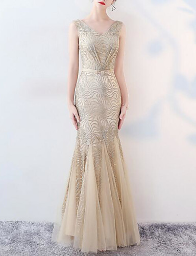 6ac12f3cc76 Mermaid   Trumpet V Neck Floor Length Tulle   Sequined Dress with Sequin    Crystals   Embroidery by LAN TING Express 7198520 2019 –  93.99