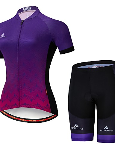 cheap Cycling Clothing-Miloto Women's Short Sleeve Cycling Jersey with Shorts - Camouflage Gradient Bike Jersey Padded Shorts / Chamois Clothing Suit Breathable Moisture Wicking Reflective Strips Sports Lycra Gradient