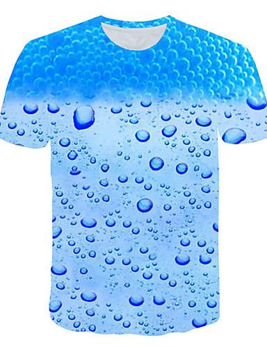 cheap Men's Tees & Tank Tops-Men's T-shirt - 3D Print Round Neck Blue XXXL