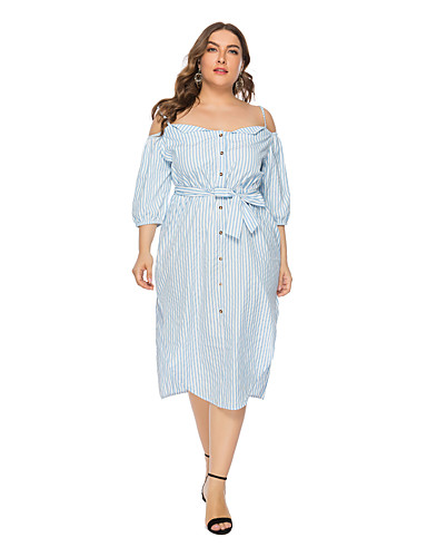 73c3e9dab4e Women s Street chic A Line Dress - Striped Bow Ruched Light Blue XL XXL XXXL