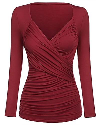 povoljno Ženske majice-Majica s rukavima Žene Jednobojni V izrez Ukriženo Red