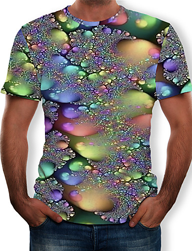 cheap Men's New Ins-Men's T-shirt - 3D Print Round Neck Silver XL