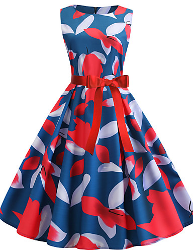 Damen Grundlegend A-Linie Kleid Einfarbig Übers Knie