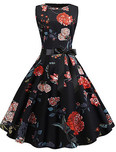 1a3e12fdbceaa Casual Dress A-Line Jewel Neck Knee Length Stretch Satin Dress with Pattern  / Print by LAN TING Express