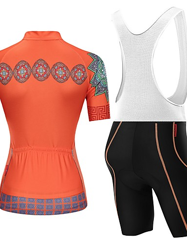 cheap Cycling Clothing-Malciklo Women's Short Sleeve Cycling Jersey with Bib Shorts - Orange+White Orange / Black Floral / Botanical Bike Clothing Suit Breathable Quick Dry Sports Floral / Botanical Mountain Bike MTB Road