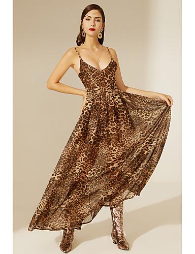 cheap TS@ Clothing-TS@ Women's Swing Dress - Leopard Print Brown
