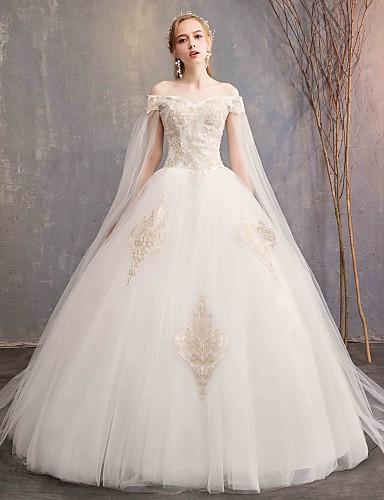 435600ae798c1c0 С пышной юбкой С открытыми плечами Макси Тюль / Кружево на подкладке из  атласа Свадебные платья