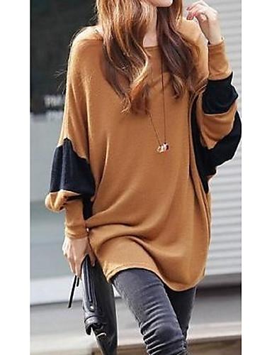 povoljno Ženske majice-Majica s rukavima Žene Color block Širok kroj, Kolaž Braon