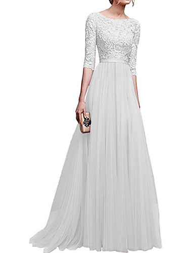c3d824232b7 A-Line Boat Neck Sweep   Brush Train Lace   Tulle Dress with Lace Insert by  LAN TING Express
