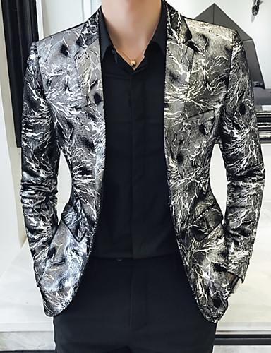 cheap Party Time-Men's Plus Size Blazer Notch Lapel Polyester Silver / Slim