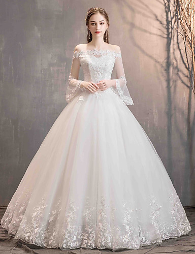 ee92d3e10f02b Ball Gown Off Shoulder Floor Length Lace / Tulle Made-To-Measure Wedding  Dresses with Appliques by LAN TING Express