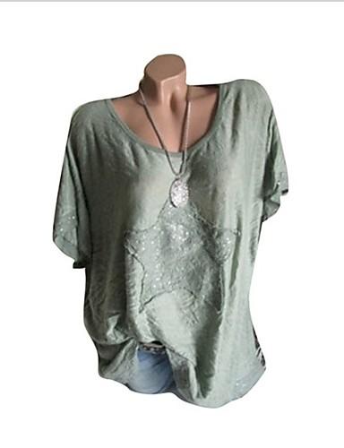 povoljno Ženske majice-Veći konfekcijski brojevi Majica s rukavima Žene Pamuk Galaksija Širok kroj, Kolaž Plava