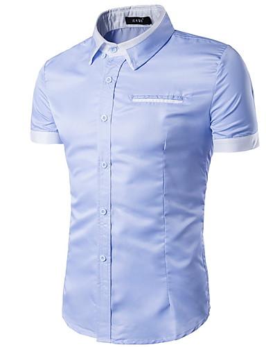 Hombre Camisa Un Color Blanco XL