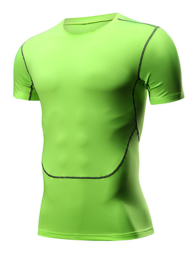 cheap Compression Clothing-Men's Compression Shirt Short Sleeve Compression Base layer T Shirt Top Thermal / Warm Breathable Quick Dry Sweat-wicking Black Green Road Bike Mountain Bike MTB Basketball High Elasticity