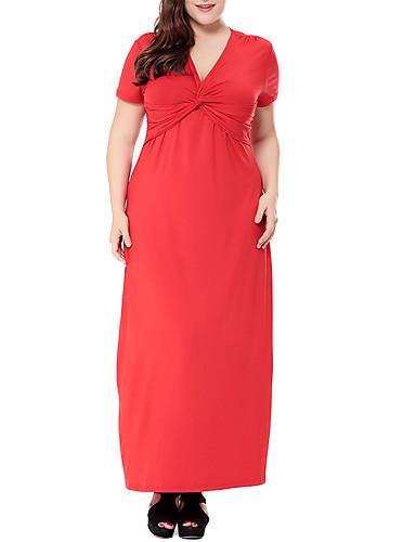 Abito Da Donna Plus Size Maxi Mai Vestito Profondo V Viola Rosso Nero L Xl Xxl Xxxl #07303612
