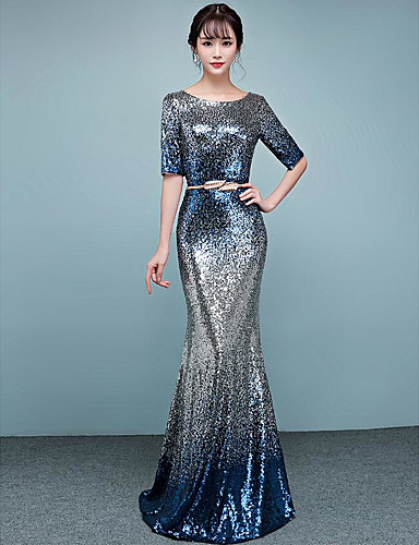 cheap Special Occasion Dresses-Mermaid / Trumpet Jewel Neck Floor Length Sequined Dress with Sequin by LAN TING Express