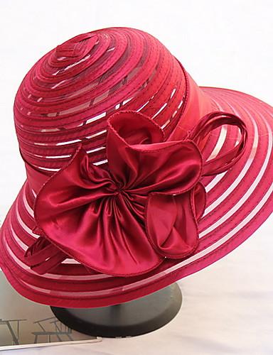 billige Hatter til damer-Dame Kentucky Derby søt stil Solhatt Ensfarget Netting Navyblå Lilla Vin