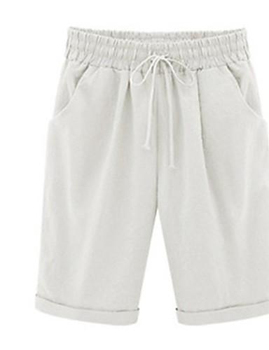 billige Tights til damer-Dame Sporty / Gatemote Store størrelser Shorts Bukser - Ensfarget Dusty Rose Bomull Lyseblå Kakifarget Rosa S M L