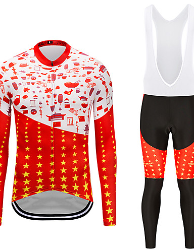 cheap Cycling Clothing-MUBODO Men's Long Sleeve Cycling Jersey with Bib Tights - Red+Black Bike Clothing Suit Breathable Quick Dry Reflective Strips Sports Mesh Mountain Bike MTB Road Bike Cycling Clothing Apparel