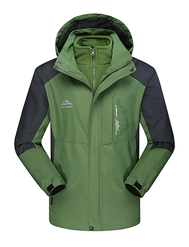 cheap Outdoor Clothing-Men's Hiking Jacket Outdoor Winter Waterproof Windproof Antistatic Heat Retaining Top Camping / Hiking / Caving Winter Sports Forest Green / Green / Yellow / Dark Navy