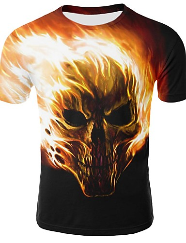 cheap Men's Tees & Tank Tops-Men's Plus Size Cotton T-shirt - Geometric / Animal / Skull Print Round Neck Black XXL