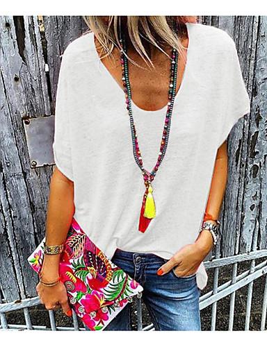 billige Topper til damer-Løstsittende V-hals T-skjorte Dame - Ensfarget Rosa