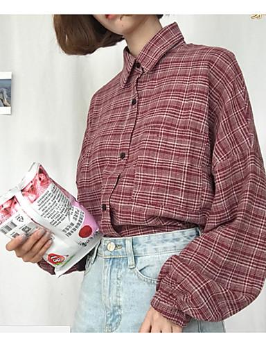 d01b5bc6 Bomull Skjortekrage Skjorte Dame - Stripet Blå En Størrelse