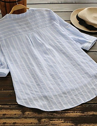 billige Dametopper-Skjortekrage Skjorte Dame - Stripet, Lapper Gatemote / Punk & Gotisk Lyseblå