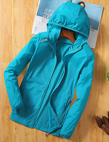 cheap Outdoor Clothing-Women's Solid Color Hiking Shirt / Button Down Shirts Outdoor Summer Waterproof Windproof Breathable Ultra Light (UL) Shirt Top Single Slider Camping / Hiking / Caving Traveling Light Blue / Light