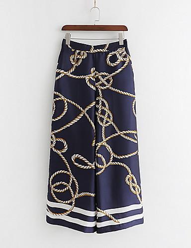 Entusiasta Per Donna Moda Città A Zampa Pantaloni - Con Stampe Blu #07237236