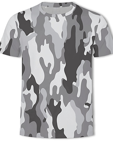 9e461577 Men's Military Ball Casual / Daily Plus Size Basic / Military Plus Size T- shirt - 3D / Camo / Camouflage Print Round Neck Gray US42 / Short Sleeve