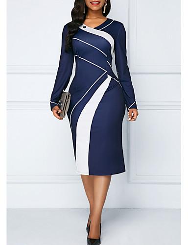 저렴한 여성용 의류-여성용 플러스 사이즈 슬림 바디콘 드레스 - 컬러 블럭 미디 V 넥