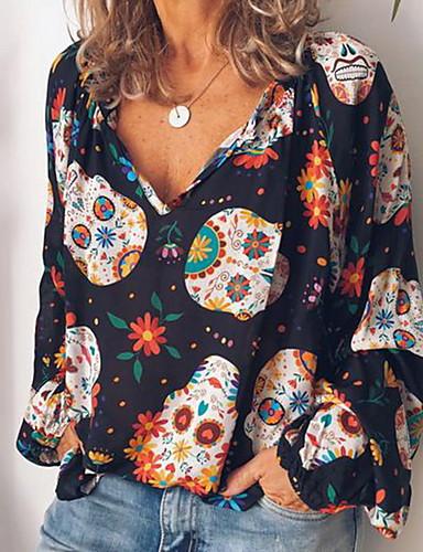 povoljno Ženske majice-Majica s rukavima Žene Grafika V izrez Print / Loose Fit Braon / Proljeće / Ljeto / Jesen / Zima