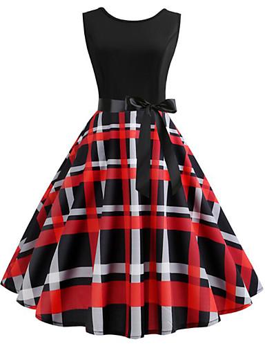 49873d3373d97 Women's Vintage Swing Dress - Check Print Red L XL XXL