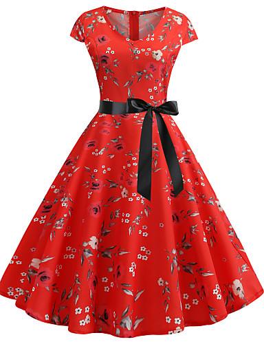 8f4ec9565382 Women's Vintage Swing Dress - Solid Colored Lace Print Red L XL XXL
