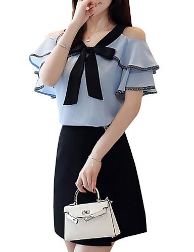 povoljno Majica-Majica Žene Color block Spuštena ramena Vezanje straga Plava