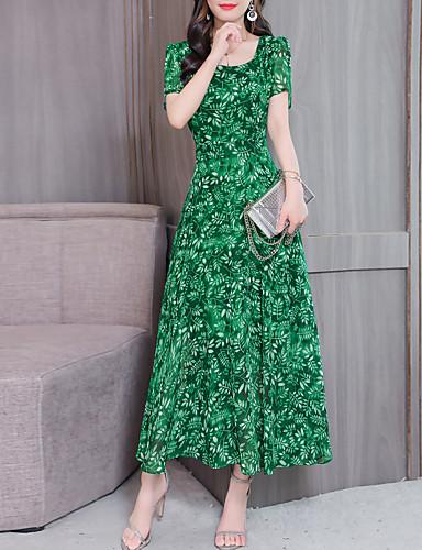 baratos Roupa de Mulher-Mulheres balanço Vestido - Estampado, Floral Longo