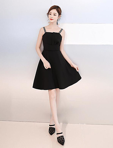 cheap Special Occasion Dresses-Casual Dress A-Line Spaghetti Strap Short / Mini Chiffon Dress with by LAN TING Express