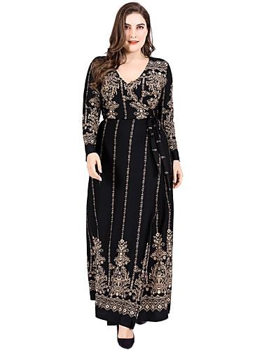 cheap Women's Plus Size Dresses-Women's Vintage Swing Dress - Geometric Lace up Gold XXXXL XXXXXL XXXXXXL
